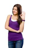 Half-length portrait of girl with okay gesture Royalty Free Stock Image