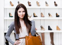Half-length portrait of girl in shopping center Royalty Free Stock Photos