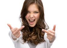 Half-length portrait of girl showing obscene gesture Stock Photo