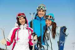 Half-length portrait of group of skier friends Stock Photo