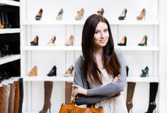 Half-length portrait of lady in shopping center Royalty Free Stock Photography