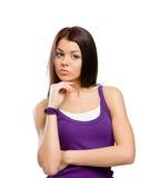 Half-length portrait of pensive girl Stock Photos