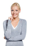 Half-length portrait of smiley woman Royalty Free Stock Photos