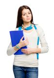 Half-length portrait of teen with folder Stock Photo