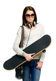 Half-length portrait of teen with skateboard Royalty Free Stock Image