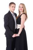 Half length portrait of teenage couple in formal clothes isolate royalty free stock images