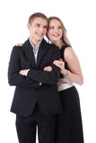 Half length portrait of teenage couple in formal clothes isolate Stock Photos