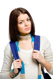 Half-length portrait of teenager with blue knapsack. Half-length portrait of teenager wearing blue knapsack and colored scarf, isolated on white Royalty Free Stock Image