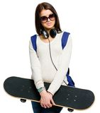 Half-length portrait of teenager with skateboard Royalty Free Stock Image