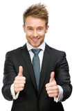 Half-length portrait of thumbing up business man Stock Images