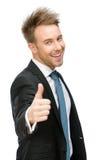Half-length portrait of thumbing up businessman Stock Photography