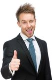 Half-length portrait of thumbing up manager Royalty Free Stock Photo