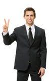 Half-length portrait of victory gesturing businessman Stock Image