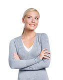 Half-length portrait of woman with arms crossed Stock Photo