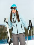 Half-length portrait of woman mountain skier Royalty Free Stock Photos