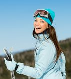 Half-length portrait of woman skier Stock Images