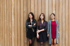 Half length portrait of a young three dreamy women in fashionable clothes looking to copy space area on wooden wall, Stock Photo