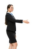 Half-length profile of business woman handshaking. Half-length profile of business woman handshake gesturing, isolated on white. Concept of leadership and stock photos