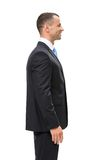 Half-length profile of executive. Half-length profile of businessman, isolated. Concept of leadership and success stock photography