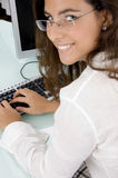 Half length view of smiling female Stock Images