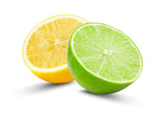 Half of lime and lemon isolated on the white background Royalty Free Stock Photos