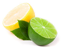 Half of lime and lemon with leaves isolated on white Stock Photos