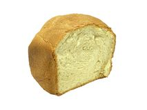 Half a Loaf. Of home made bread isolated over white Royalty Free Stock Images