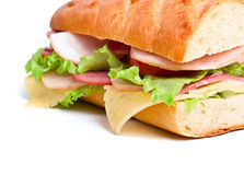 Half of long baguette sandwich Royalty Free Stock Image