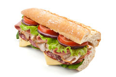 Half of Long Tasty Baguette Sandwich Royalty Free Stock Photography