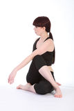 Half Lord of the Fishes Pose Ardha Matsyendrasana Stock Photo