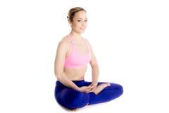 Half lotus asana, cross-legged pose Stock Photo