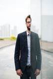 Half the man. Portrait of businessman emerging from behind a glassy wall stock image