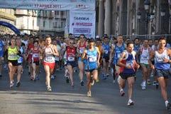 Half-marathon. NAPLES, ITALY – APRIL 18 – Runners at the half Marathon, April 18, 2011 royalty free stock photo