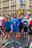 HALF MARATHON in Manchester, UK. MANCHESTER, ENGLAND - 28 MAY, 2017: Athlets are ready to start HALF MARATHON in Manchester, UK stock images