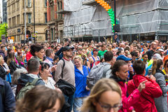 HALF MARATHON in Manchester, UK. MANCHESTER, ENGLAND - 28 MAY, 2017: Athlets are ready to start HALF MARATHON in Manchester, UK stock photography