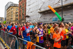 HALF MARATHON in Manchester, UK. MANCHESTER, ENGLAND - 28 MAY, 2017: Athlets are ready to start HALF MARATHON in Manchester, UK royalty free stock photography