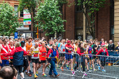 HALF MARATHON in Manchester, UK. MANCHESTER, ENGLAND - 28 MAY, 2017: Athlets are ready to start HALF MARATHON in Manchester, UK stock photos