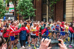 HALF MARATHON in Manchester, UK. MANCHESTER, ENGLAND - 28 MAY, 2017: Athlets are ready to start HALF MARATHON in Manchester, UK royalty free stock image