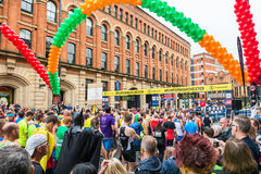 HALF MARATHON in Manchester, UK. MANCHESTER, ENGLAND - 28 MAY, 2017: Athlets are ready to start HALF MARATHON in Manchester, UK stock image