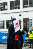 HALF MARATHON in Manchester, UK. MANCHESTER, ENGLAND - 28 MAY, 2017: Man in a Costume during HALF MARATHON in Manchester, UK stock photos