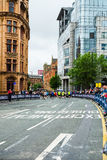 HALF MARATHON in Manchester, UK. MANCHESTER, ENGLAND - 28 MAY, 2017: Streets of the city during HALF MARATHON in Manchester, UK stock photos