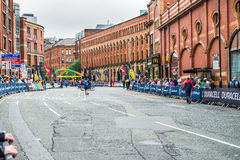 HALF MARATHON in Manchester, UK. MANCHESTER, ENGLAND - 28 MAY, 2017: Streets of the city during HALF MARATHON in Manchester, UK royalty free stock image