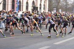 Half marathon roller skaters. APRIL 2009, BERLIN - Half marathon roller skaters during half marathon in Berlin. This event takes place every year in march/april Royalty Free Stock Photos