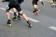 Half marathon roller skaters. APRIL 2009, BERLIN - Half marathon roller skaters during half marathon in Berlin. This event takes place every year in march/april Royalty Free Stock Photography