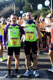 2015 Half marathon in Rome. Two friends posing together at the start of the 2015 half marathon in the city of Rome, Italy Royalty Free Stock Photos