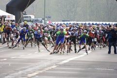 half maratonrullskateboradåkare Royaltyfri Foto