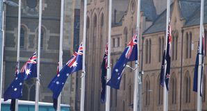 Half Mast. Australian flags flying at half mast during Anzac day celebrations in Melbourne Australia Stock Images