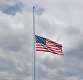 Half Mast American Flag Royalty Free Stock Photography