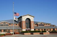half mast för amerikanska flaggan Fotografering för Bildbyråer