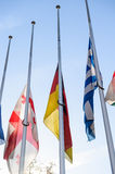 Half-mast flags of all the European Union countries after Paris Stock Photos